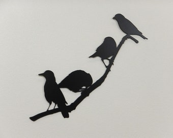 Birds on a Branch 3 Silhouette - Metal Art - (DD11---)