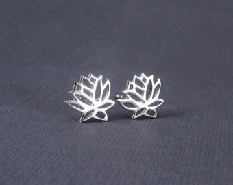 Lotus Earrings Sterling Silver Lotus Stud Earrings, Lotus Flower Earrings, Flower Blossom, Zen Jewelry, Simple Earrings