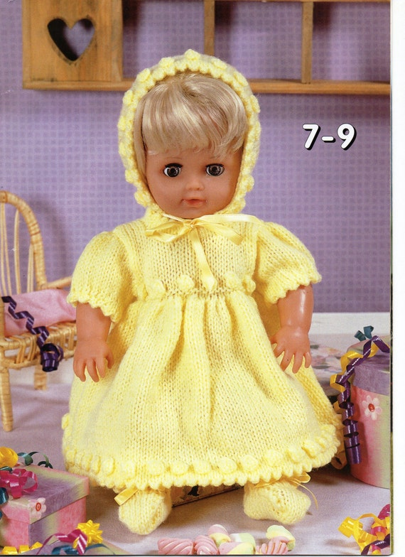baby dolls clothes knitting pattern dolls dress bonnet bootees