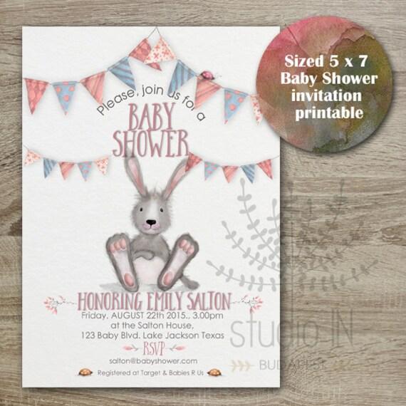 baby shower invitation bunny baby shower whimsical baby shower