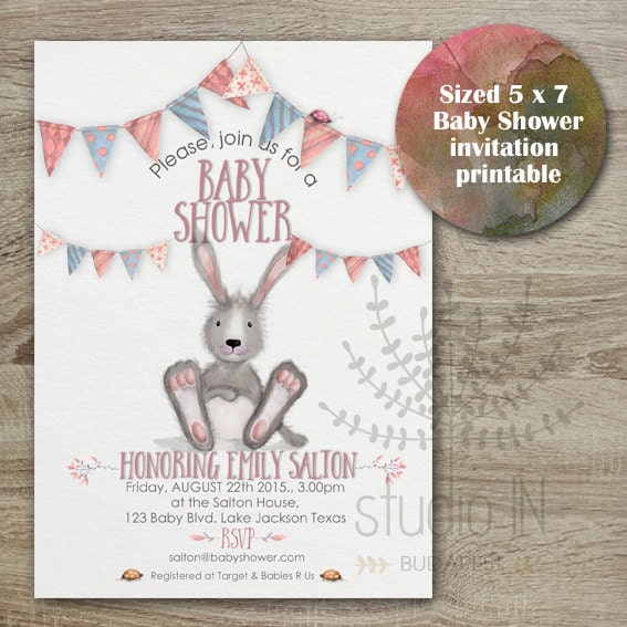 baby shower invitation bunny baby shower whimsical baby