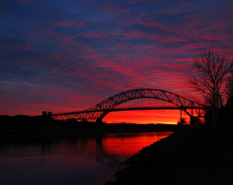 Sagamore Bridge at Dusk Fine Art Photography Wall Photo Print, Cape Cod MA Bridges Canal Sunset Sunrise Dawn Purple Red Orange Yellow Sky