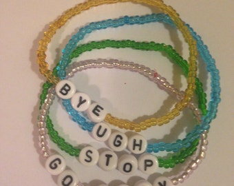 Beaded bracelets with phrases and tumblr inspired words