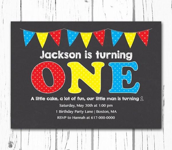 1st Birthday Invitations Boy First by DesignedbyGeorgette on Etsy