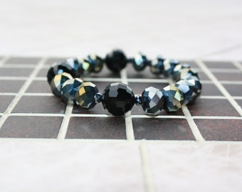 rainbow-black glassbead bracelet
