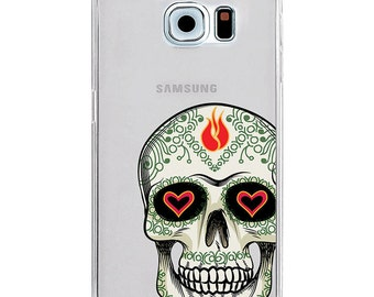 Fire Skull Galaxy S6 Case, clear galaxy s4 case, silicone galaxy note 4 case, heart slim galaxy case, plastic phone case, cool iphone case