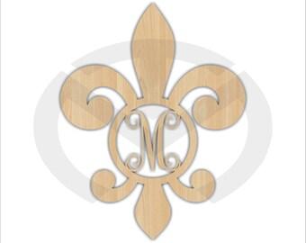 Unfinished Wood Fleur de Lis Monogram Door Hanger Laser Cutout w/ Your Initial, Home Decor, Various Sizes, Script