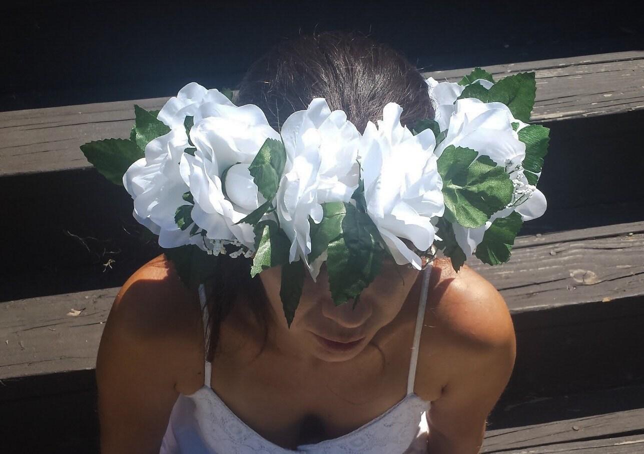 large white floral crown silk bridal flower halo wedding rose. Black Bedroom Furniture Sets. Home Design Ideas