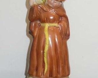 Occupied Japan Ceramic Franciscan Monk With Wine Jug Figurine Sculpture