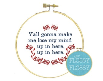 DMX - Party Up (Up in Here) - Y'all Gonna Make Me Lose My Mind, Up In Here - Rap Lyrics - Cross Stitch Pattern - PDF Instant Download