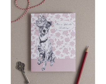 Jack Russell Birthday Card: Dog in a fascinator illustration on handmade card with birthday caption. For dog lovers & Jack Russell owners!