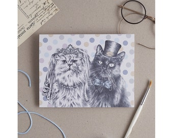 Cat Wedding Card: wedding card with cat bride and groom illustration. Victorian Steampunk Wedding. Purrfect wedding card for cat lovers!