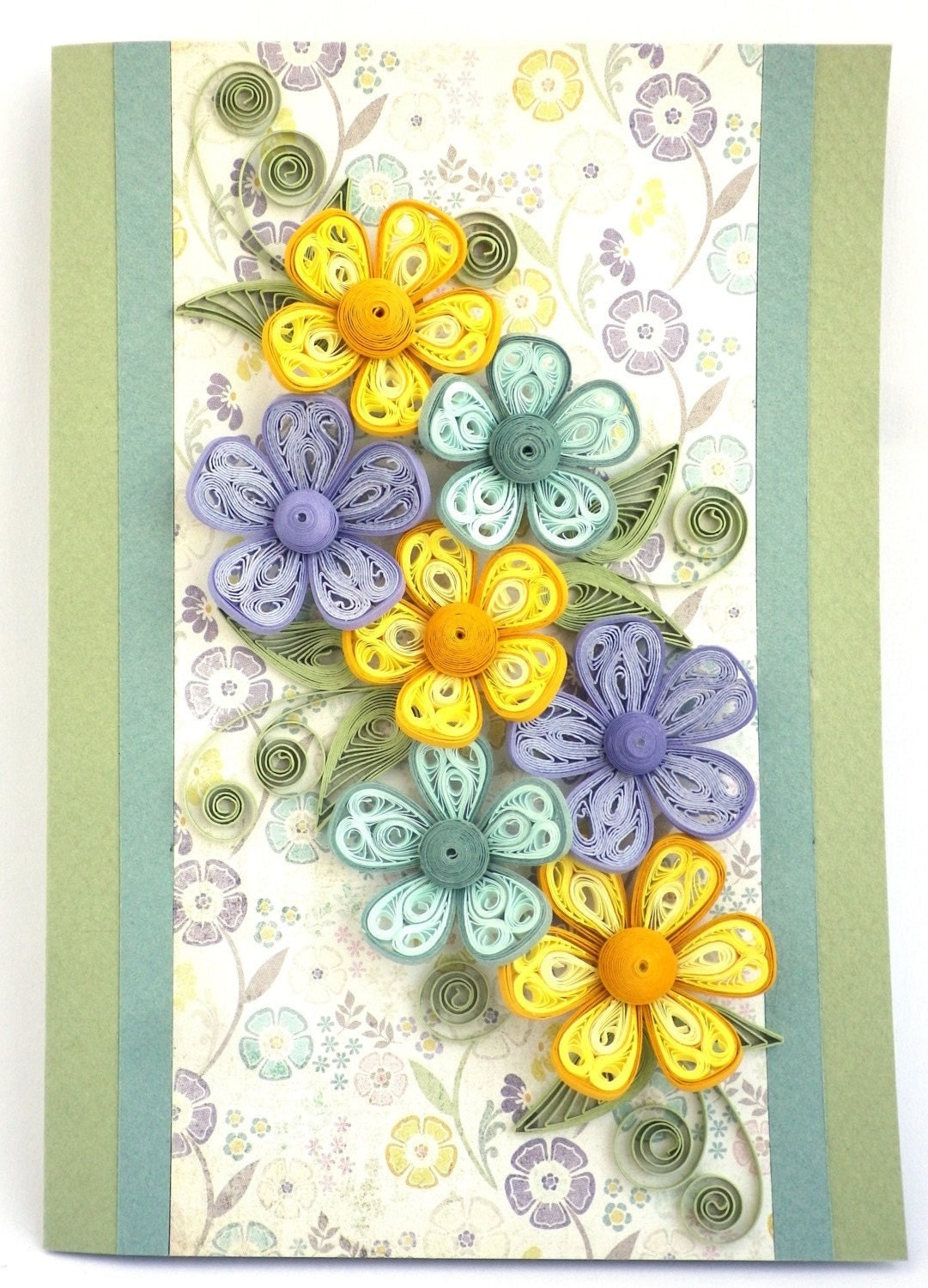 quilling greeting card in mauve lilac pastel colors for any