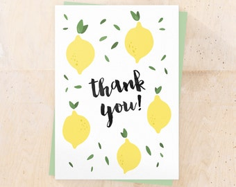 Printable thank you card - Instant download - Handwritten Typography - Lemons illustration - Fruits - Wedding Birthday thank you cards