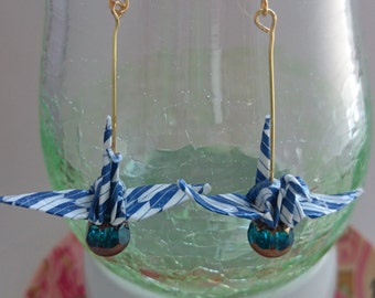 Origami paper crane earring