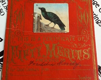 Antique Sunday School Merit Card, Black Raven