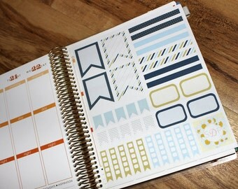 Blue and Gold Themed Planner kit! Set of 36 Planner Stickers (047)