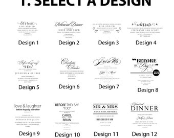 """New """"YOU DESIGN IT"""" Build your own Wedding Skyline Rehearsal Dinner Invitations (set of 25 cards)"""