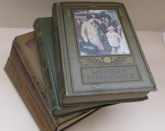 Set of Antique 19th C Art Nouveau Brown Tones Decorative Books - Instant Library - Old Book Collection