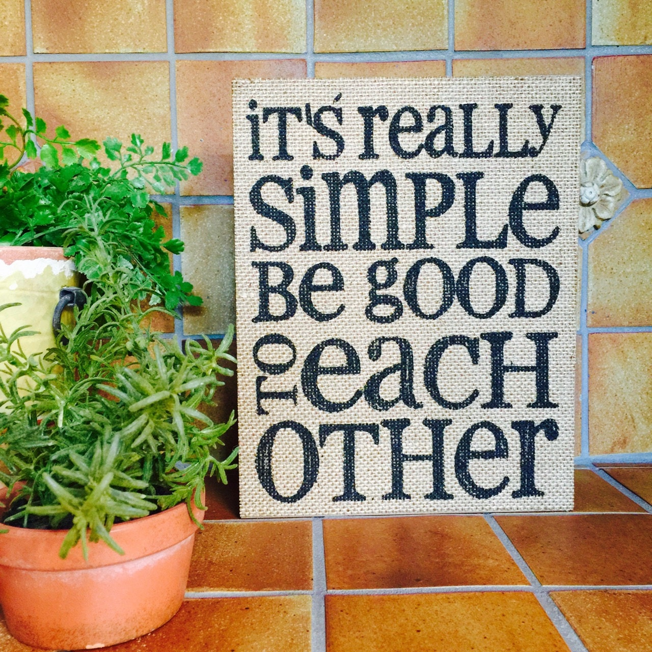 Wood sign with quote sayings Burlap print by ShopMolliesMarket