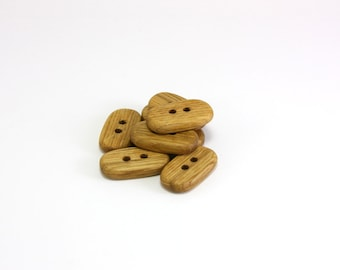 Oval wooden buttons - 1 in (26mm) - Set of 6 natural rustic oak wood buttons - Handmade craft supplie (O1251)