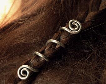 2 Custom Viking hair beads • Spiral hair coils • Beard jewelry • Dwarven beard coils • Beard hair accessory • Dreadlock hair accessories