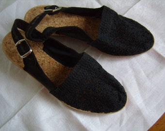 Vintage, sandals women, point. 37, fabric lace black 1990, with side buckle