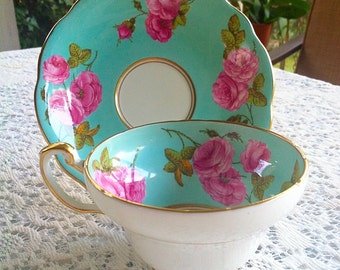 Foley Bone China Blue Century Rose teacup & saucer numbered and marked PRODUCED 1950 MADE in ENGLAND