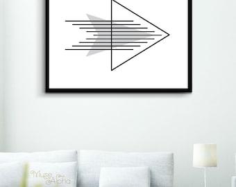 Black and White Geometric Art Decor, Printable Arrow Art, Arrow Print, Arrow Printable Art, Geometric Wall Art, Geometric Lines Home Print