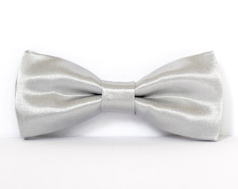 SILVER BOW TIE- Shiny Silver Bow Tie, Grey Groomsmen Bow Ties, Clip  On Bow Ties, Bowie