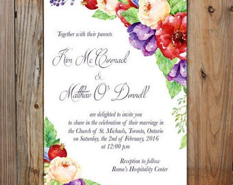 Floral Wedding Invitation- Purple and Red Floral Wedding Invitation Package Kit, Wedding Invites