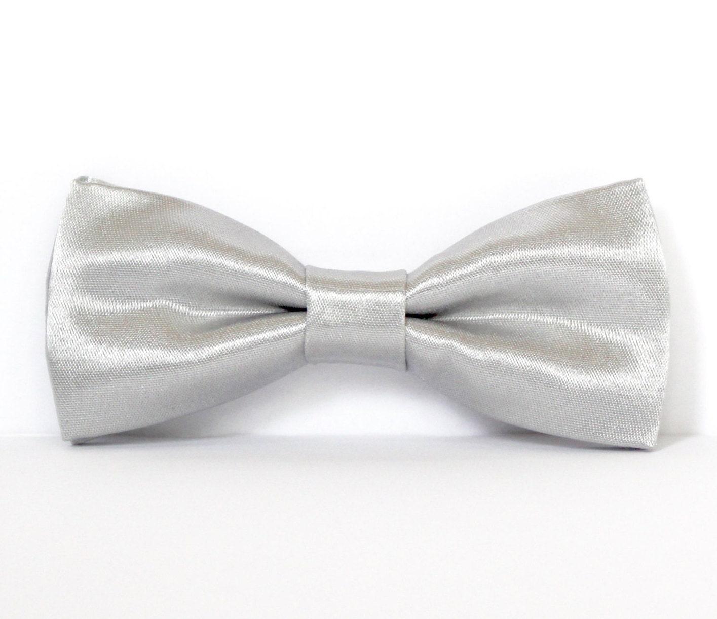 Silver Bow Tie Shiny Silver Bow Tie Grey Groomsmen Bow Ties