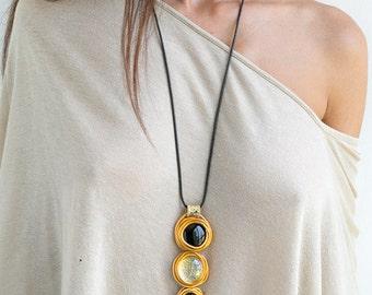 Long Pendant Necklace, Long Necklace, Statement Necklace, Stones Necklace, Leather Necklace, Gold Long Necklace.