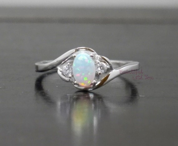 White Opal Ring Silver Lab Opal Ring Opal by BeautifulWithYou