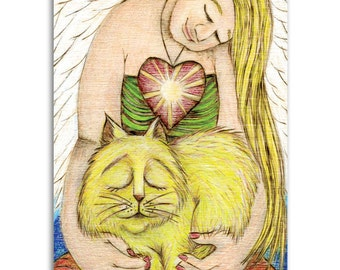 Golden Cat Angel, Note Cards - Set of four 5x7 note cards - painting and poem by Claire