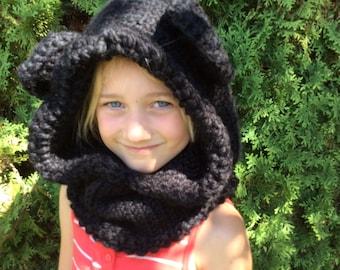 Black Bear Cowl, Hooded Bear Cowl, Knit Animal Cowl, Knitted Bear Cowl, Knit Bear Hood, Hooded Bear Snood, Winter Hooded Cowl