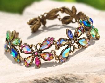 Rainbow Fireflies Bracelet, Firefly Bracelet, Butterfly Bracelet, Summer Jewelry, Insect Jewelry, Bug Bracelet, Butterfly Jewelry BR558-AU