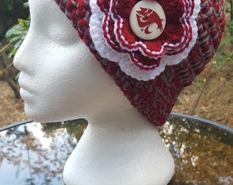WSU Cougars Inspired Cloche Hat/WSU/Crochet Hat/Cloche Hat