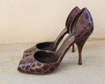 Vintage Prada Brown Leather Pumps - 1990's Prada  Open Toe Heels  - Size Eu 37 / Us 7