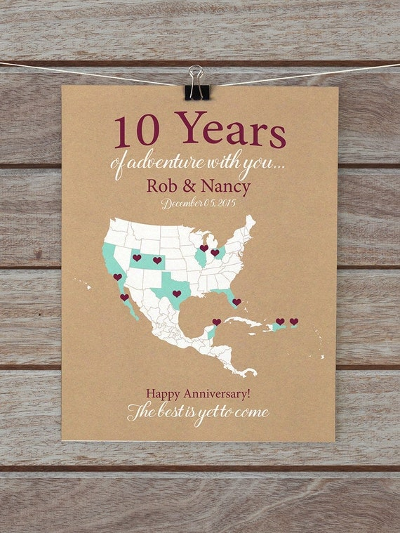 10th Wedding Anniversary Gift Husband : 10 Year Anniversary Gifts 10th Anniversary Personalized Map