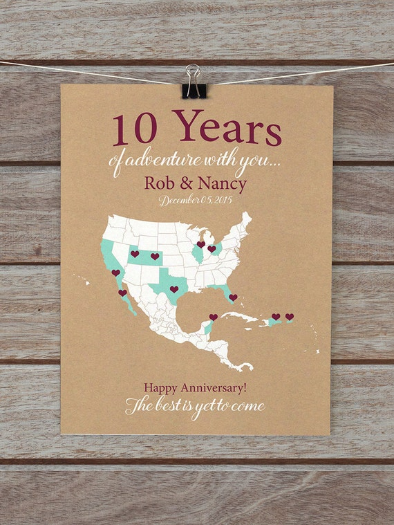 10th Wedding Anniversary Gifts For Husband Uk : 10 Year Anniversary Gifts 10th Anniversary Personalized Map