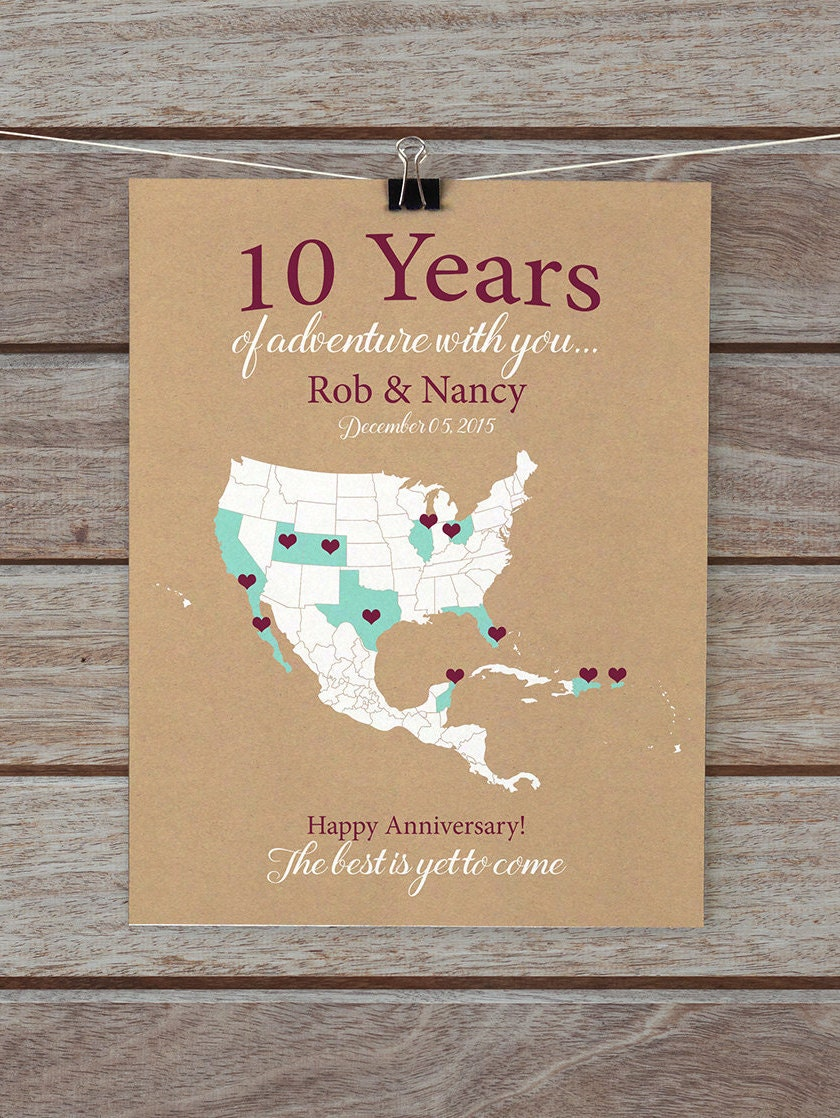 10 Year Anniversary Gifts 10th Anniversary Personalized Map