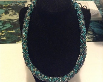 Teal and pewter beaded crochet necklace