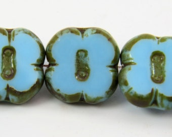 12mm Aqua Blue Flower 4 Petal Clover Opaque Picasso Premium Czech Glass 6 Beads PTCFLCL003