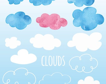 CLOUD Clipart [watercolor clouds]