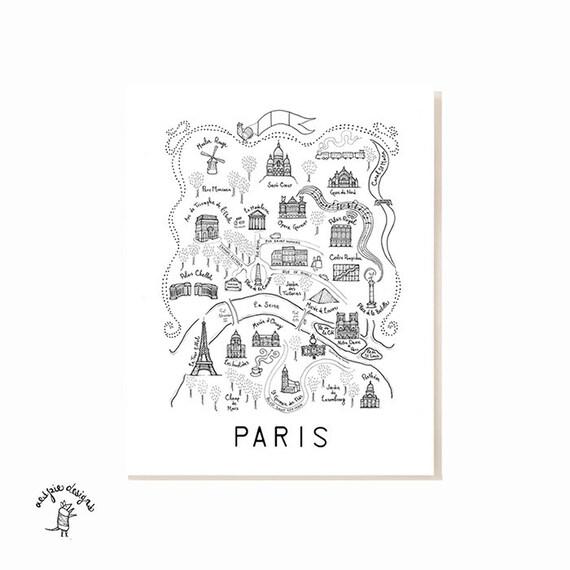 Paris City Map Art Print Black White: Paris City Map Poster At Infoasik.co