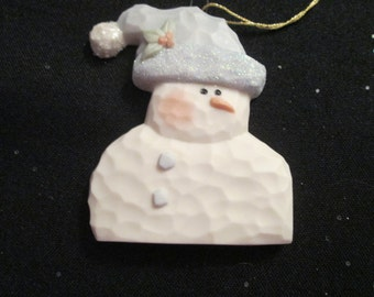Porcelain SNOWMAN - Flat Elegant Snowman with Carrot Nose   *** We Personalize