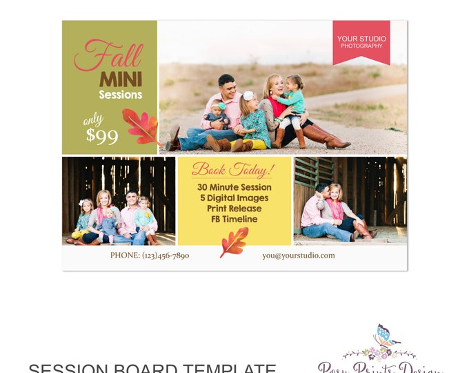 Fall Session Marketing Board - Template for Photographers - Autumn Photoshop Template - 5x7 Photography Design - AMB04