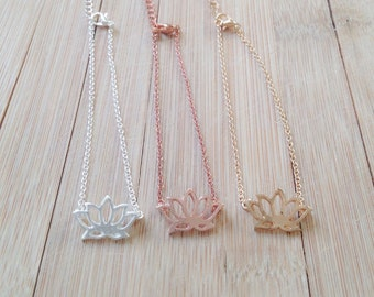 Lotus necklace in gold, silver or rosegold, lotus flower, floral, karma necklace, yoga, zen, gift, gold lotus, rose gold lotus, silver lotus