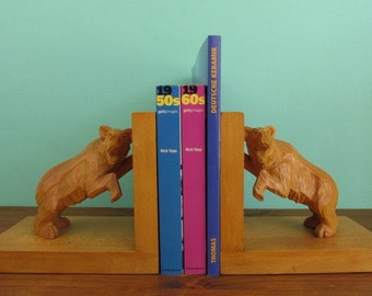 wooden book ends bear bookends, hand carved, mid century